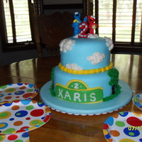 Sesame Street 8 inch and 6 inch. Lemon cake with lemon curd filling.