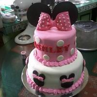 Minnie Mouse Cake Chocolate cake covered with fondant icing