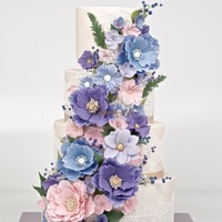 4 Tiers Pastel Tones Fantasy Flowers Wedding Cake 4 tiers pastel tones fantasy flowers wedding cake