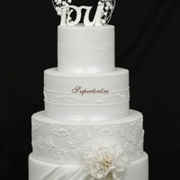 All In White Wedding Cake With Some Ri Details All in white wedding cake with some RI details..