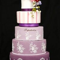 Hand Painted Royal Icing Cake With Sugar Flowers Hand painted royal icing cake with sugar flowers..