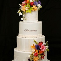 All Ivory And Bright Flowers Wedding Cake All ivory and bright flowers wedding cake.