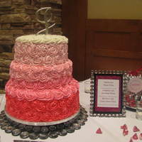 Pink Ombre Wedding Cake Piped Rosettes Red Velvet Strawberry Vanilla   Pink Ombre wedding cake, piped rosettesRed velvet, strawberry, vanilla
