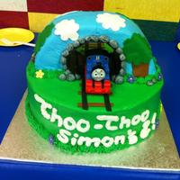 Thomas The Train Birthday Cake   chocolate and a white tunnel