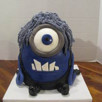 Purple Minion vanilla cake, butter cream hair, fondant