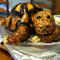 Turtle Cake This cake was a collaborative effort with Barbara from The Sisters' Creations. Painted MMF with Nutella Frosting.Turtle limbs/neck RCT...