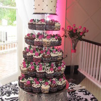 Pick And Black Cupcake Wedding Tower