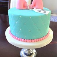 Turquoise Gift Box Cake Turquoise gift box cake with marshmallow fondant.