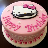 Hello Kitty Mustache Cake Hello Kitty sporting the mustache look! Hello Kitty cut out of marshmallow fondant using a sharp knife and computer printout as a template...
