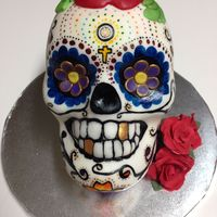 Sugar Skull Cake Sugar Skull cake....hand painted with some fondant accents. Fondant roses.