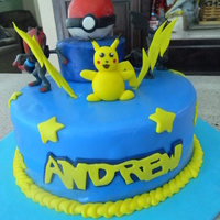 Pokemon Pokemon cake for my son...Not happy with the way Pikachu came out, but my son wanted him on his cake at the last minute. He was happy with...
