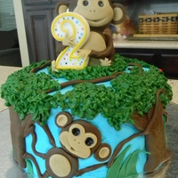 Monkey Cake This cake was made for my nephew's 2nd birthday.......vanilla cake with raspberry filling, covered with bc. The trees, monkey, and...