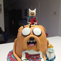 Adventure Time Birthday Cake.. Adventure Time cake for my son's birthday! Vanilla and chocolate cake layers with Nutella filling. Covered with Satin Ice fondant....