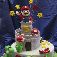 Mario Bros For Andrew   Mario Bro cake, top castle made from cereal rice.