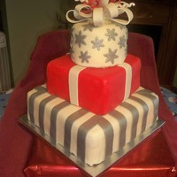 Christmas Gift Box Wedding Cake This wedding cake is suppose to resemble wrapped christmas presents