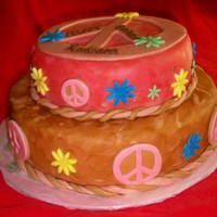 Peace Cake Two tier fondant cake covered with peace signs