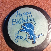 Detroit Lions Cake The head got a little messed up because I hit it with my hand. Otherwise, quite happy with my fbct.