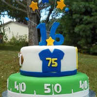 Football Theme Cake  This cake was for my sons' 16th birthday. He is not a fan of cake so I made the bottom tier out of rice cereal treats and the top tier...