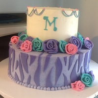 A Birthday Cake For Madison The Birthday Girls Only Request Was That I Use Purple And Turquoise With Pink Accents This Was My First Time  A birthday cake for Madison. The birthday girl's only request was that I use purple and turquoise with pink accents. This was my first...