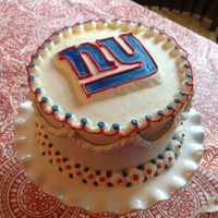 My Son's 12Th-Birthday Cake  When my son requested a NY GIants cake for his birthday, I decided that it was a great time to try doing a frozen buttercream transfer. I&#...