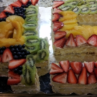 45   Cake decorated with fruit and sliced almonds...