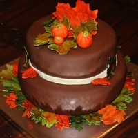 Fall Birthday Cake!!   This is a vanilla cake with dark chocolate & bailey's buttercream filling..