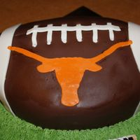 Longhorn Football Birthday Cake   Vanilla Cake witch chocolate and nuts buttercream filling!!