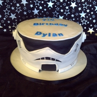 Starwars Clone Trooper this cake has got 3 layers of jam and cream in it .The little boy who it was for loved it.