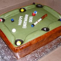 Pool Table  Pool table cake made from layered chocolate cake, iced in buttercream and covered in MMF. Pool cue id a dowal covered in MMF, all other...