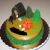 Camping Cake Made this for a trip camping up north. Everyone loved it! I had a blast making this one. It was one of my first (for cake decorating class...