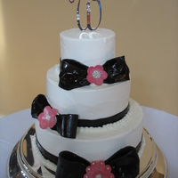 June Wedding Cake   Pink and chocolate fondant wedding cake