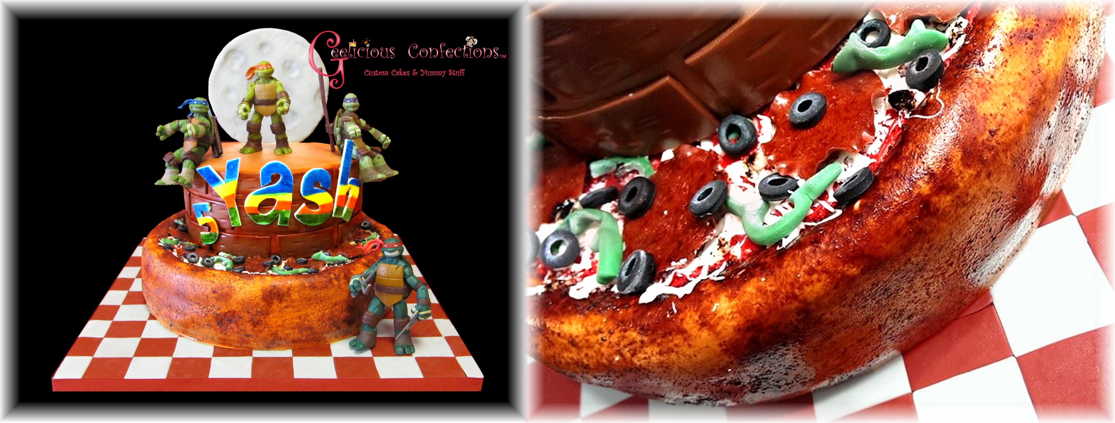 Tmnt Cake TMNT Cake theme, everything but the TMNT characters are edible. Those are keep sake toys for the birthday boy. Pizza toppings are made of...