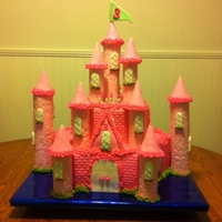 "Pink Princess Castle Cake A special princess (my granddaughter) was having a ""princess birthday party,"" so I decided I'd turn my hand to try a..."