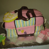 Diaper Bag Cake Carved cake, fondant details