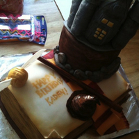 Harry Potter Cake Carved cake, fondant details, Castle made of rice krispies