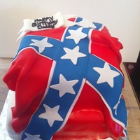 Confederate Flag Cake. A cake i made for my daddys birthday. Fondant confederate flag. He loved it :)