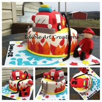 "Fire Truck Theme 8 Round Vanilla Cake And Rkt Fire Truck Fire Truck Theme- 8"" round vanilla cake and RKT fire truck."
