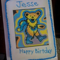 Grateful Dead Bear This is a mocha cake and almond buttercream with a Greatful Dead Bear edible image. This is my 2nd buttercream cake and I charged $40 for...