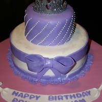 Princess Cake Strawberry cake with a strawberry cream filling, the tiara is made from gumpaste and disco dust.