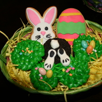 Easter Basket Easter Cupcakes and Cookies wrapped in a basket :)