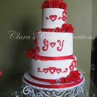 Valentine's Day Themed Wedding Cake This is my 2nd wedding cake ever