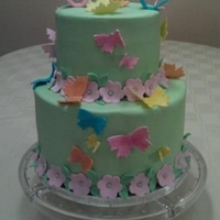 Daughter's Birthday Cake This was for my daughter's 4th birthday. She was loving butterflies at the time. 6 inch white chocolate cake filled with cherry almond...