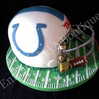 White And Blue Fondant Indiana Colts Nfl Football Helmet Cake white and blue fondant indiana colts nfl football helmet cake