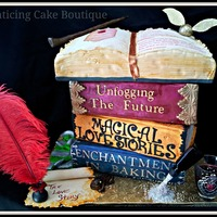 Harry Potter Gothic 3D Wedding Cake Stacked Books Open Book With Love Story Love Potion Frog Scarf Scroll Ink Feather Fondant Butte harry potter gothic 3D wedding cake. Stacked books, open book with love story, love potion, frog, scarf, scroll, ink feather, fondant....