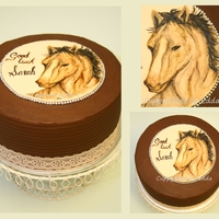 Handpainted Cake chocolate cake handpainted by my 15 year old daughter, for a lady who loves horses