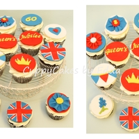 Queen's Jubilee chocolate cupcakes with IMBC decorated with fondant