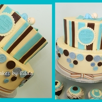 Baptism Cake + Cupcakes chocolate cake + cookies and cream cupcakes, decorated with modelling chocolate stripes, buttons and baby stuff