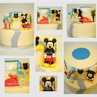 Inspired By Mickey Mouse chocolate cake with chocolate custard filling and covered with white chocolate ganache