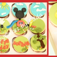 Inspired By Minie Mouse + Mickey Mouse Clubhouse red velvet cupcakes with cream cheese frosting decorated with chocolate modelling TFL
