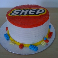 "Lego Birthday Cake Used FBCT to make the kids name ""Shep"" look like the lego logo. Buttercream cake with gumpaste lego bricks. I was happy with it..."